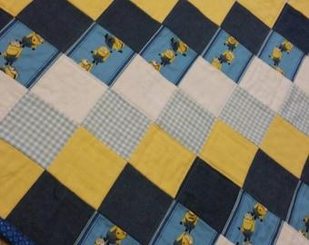 Minions-baby-toddler- quilt- birthday gift- denim