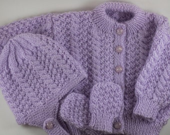 Lavender Knit baby cardigan with hat and mittens, 0 to 3 months - Purple baby sweater