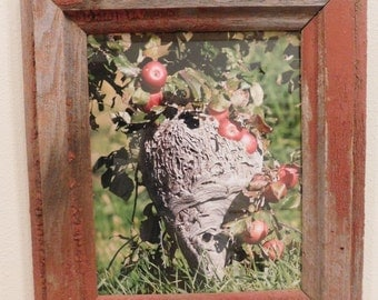"""8x10 """"Bees in the Apple Tree"""" framed in Red Barnwood (#5336)"""