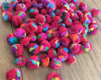 50 Cotton Pom pom, shocking pink & assorted color in 1 ball, fuchsia pompoms, chic Pompom for handicraft