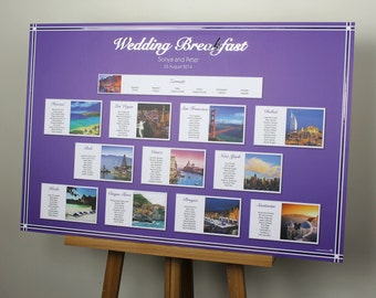 Personal photo/theme wedding table plan in your chosen colour