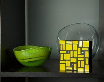 Yellow Glass Art, Glass Art, Wall Decor, Abstract Art, Home Decor, Colorful Art, Contemporary, Modern