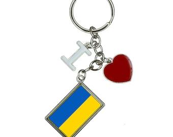 Flag of Ukraine I Heart Love Keychain Key Ring