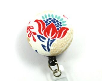 FLORAL Fabric Badge Reel, Retractable Badge Holder, Floral Badge Reel, Flower Lanyard