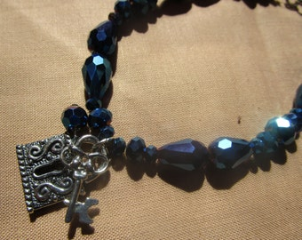 Midnight blue under lock & key, metallic glass beads are gorgeous!