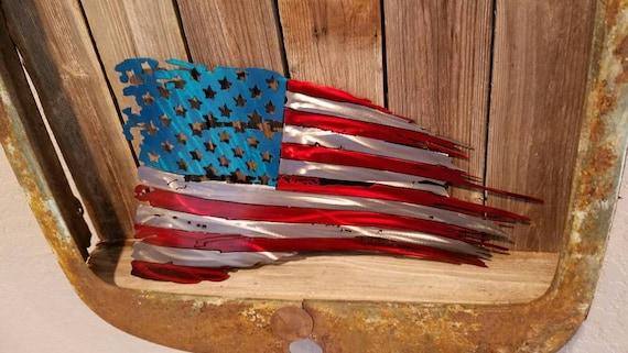 plasma cut steel american flag with 50 stars
