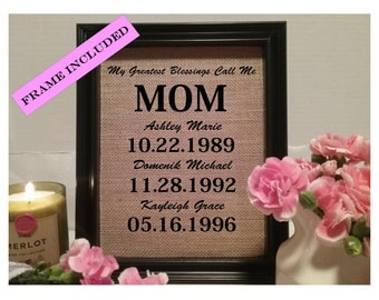FRAMED My greatest blessings call me Mom, Christmas Gift for Mom, Mother Gift, Gift for Mother, Burlap, Gift for mom, Personalized Mom gift