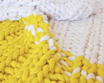 Merino wool blanket, Chunky knit blanket, chunky knit throw, giant knit blanket, wool blanket, double size blanket,  punto blanket, wool