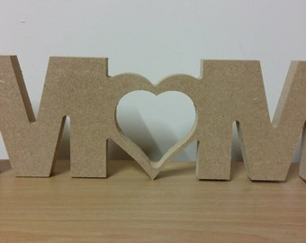 Freestanding MDF Mum shape ideal for Mothers Day or birthday