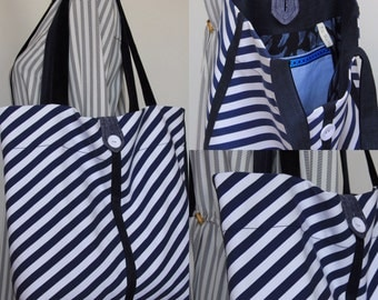 Navy-white striped fabric bag