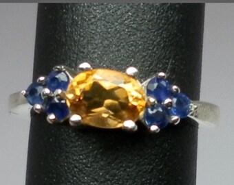 14k Citrine & Sapphire Ring, FREE SIZING