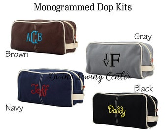 Monogrammed Toiletry Bags - Dopp Kits Bags - Groomsmen Gifts - Father's Day Gifts - 4 Color Choices - Monogrammed Dopp Kit