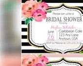 Bridal Shower Invitations, bridal party, stripes and gold Invitation, Elegant Bridal shower invitations