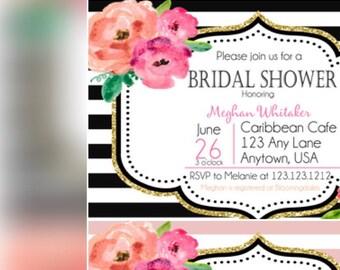 Black Stripe Gold Glitter Floral Kate Bridal Shower Invite, Bridal Black White Stripes Spade, Bridal Shower Invitation, Wedding Invitation