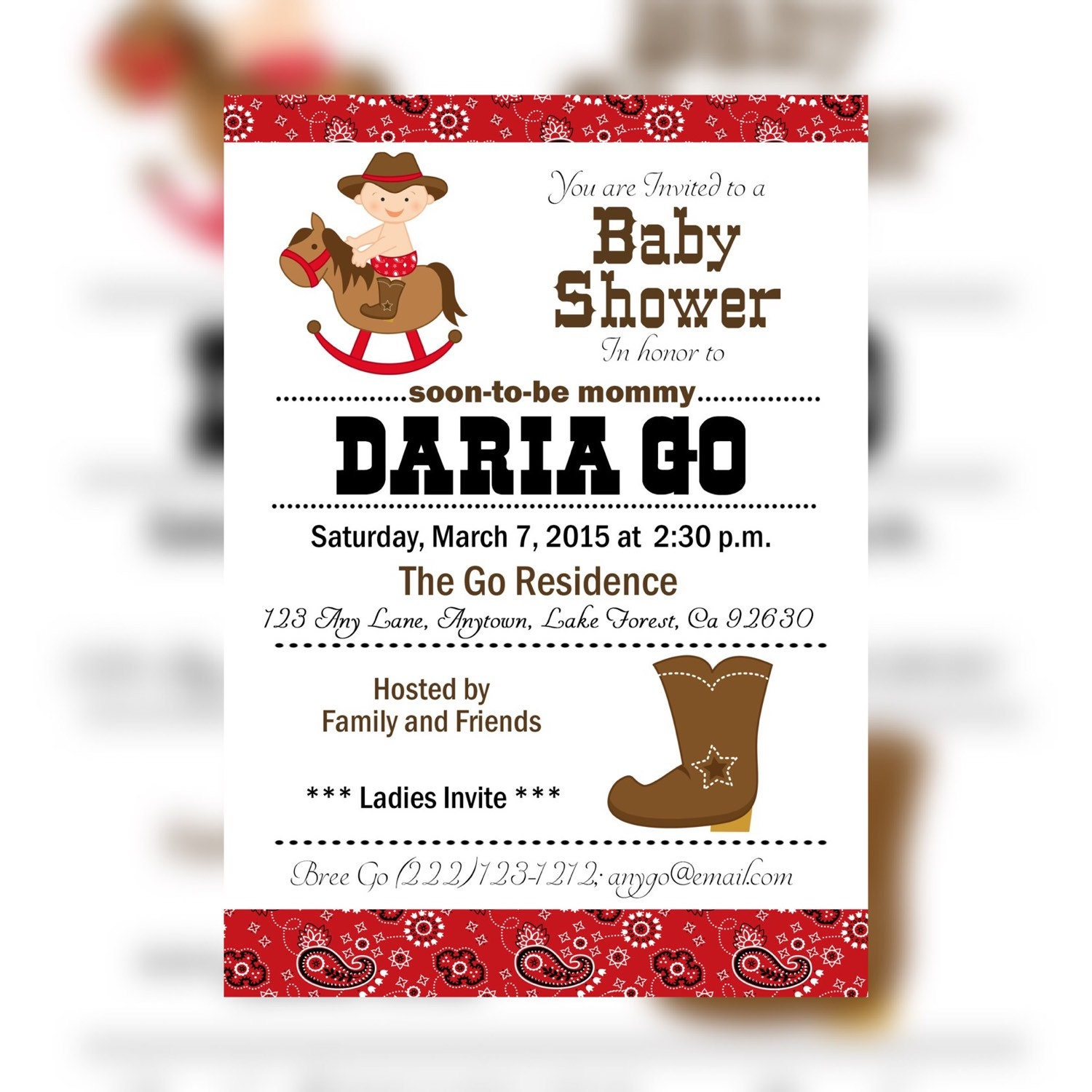 western shower invitation cowboy baby shower invitations red