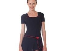 Women Skirted Swimwear Ladies One Piece Swimsuit Black Bathing Suit Skirt Modest Swimdress with Sleeves