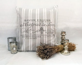 "Pillowcase ""SAVON"" (light grey-white striped)"