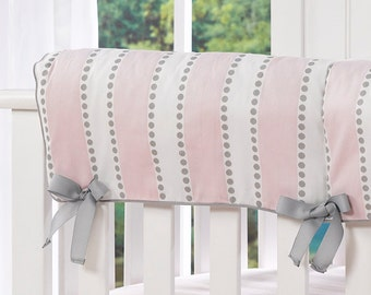 Pink and White Stripe with Gray Dots Crib Rail Cover   Baby Pink and Gray Teething Guard