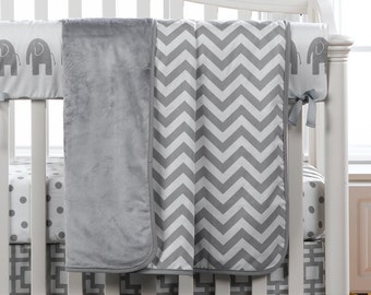 Gray and White Chevron Minky Receiving Blanket | Faux Fur Baby Blanket