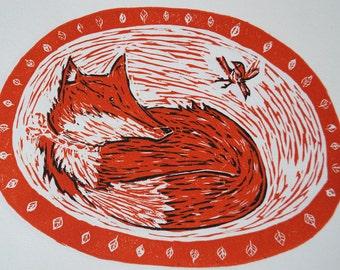 Fox lino print, Linocut