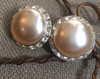 Earrings - Vintage Clip on Faux Pearl and Rhinstone Earrings