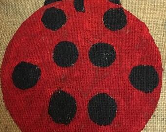 Burlap Ladybug Garden Flag