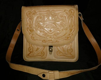 Vintage Tan Leather Hand Tooled Handbag/Shoulder bag with convertible Strap