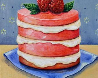 Original food painting, Raspberry Souffle, food art, acrylic on canvas, wall art
