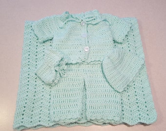 Turquoise Crochet Baby Layette Set: 5 piece