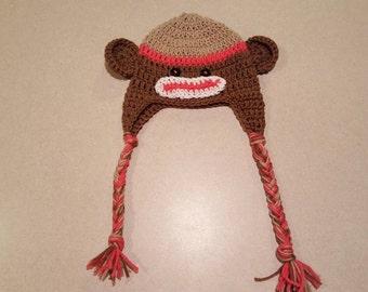 Coral Sock Monkey Hat