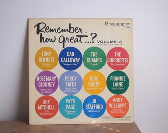 "VINTAGE 1962 ""Remember How Great Vol 2"" VARIOUS ARTISTS - vinyl - classic hits"