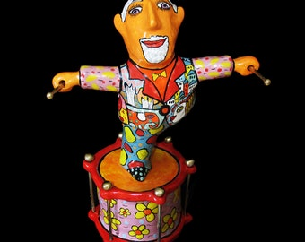 Drummer Roger Taylor, musician statuette, musician figure, statue of a man, Ceramic figurines of people, figure drummer, a man figur, Queen