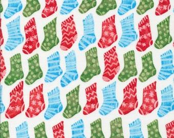 Christmas Stockings Multi - Festive - Cloud9 Fabrics - Organic Cotton - Poplin by the Yard