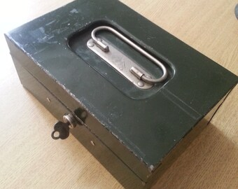Art Steel Company green metal locking box with key vintage industrial