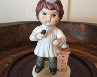 Vintage LEGO Bisque Porcelain Figurine of Little Boy Dressed in Doctor's Uniform