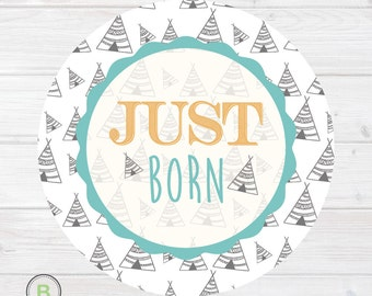 Newborn Monthly Baby Sticker - Just Born - Teepee Design by Baby Lookback