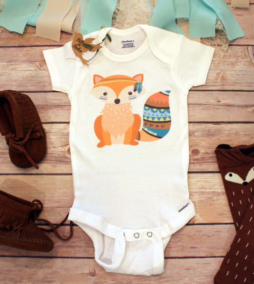 Boho Fox Baby esie Boho Baby Clothes Fox esie by