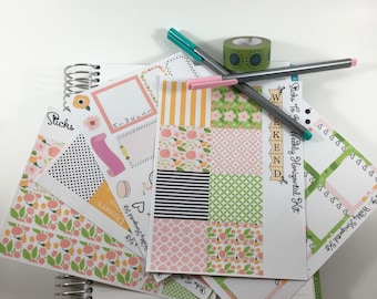 Floral Spring ECLP Weekly Kit Mambi Happy Planner Stickers Bella Rose Girly Check Lists Daily Boxes