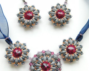 Sophie necklace and earrings - instant download pattern