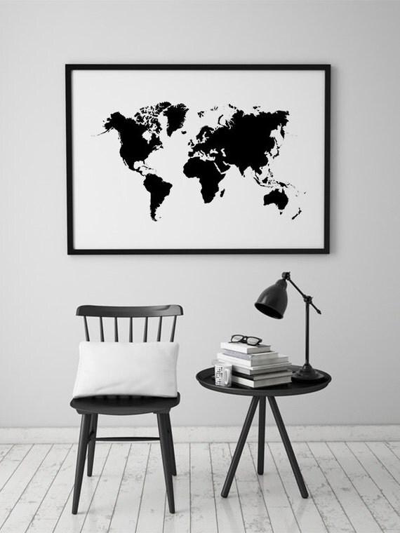 Arte de pared de mapa mundial mapa grande del mundo Poster