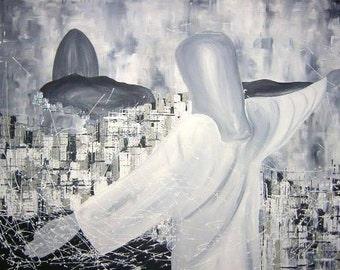 El Espoir de Rio, abstract Rio de Janeiro, acrylic on canvas, 70 x 100 cm