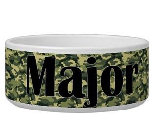 Custom Pet Bowl - Personalized Dog Bowl, Camo Feeding Bowl, Pet Water Bowl, Custom Pet Decor