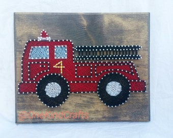 Firetruck Thread Art- Nursery, Baby Shower Gift, Present