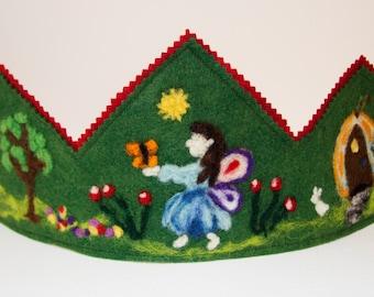 Spring Fairy Crown, Birthday Crown, Waldorf Inspired Crown, Needle Felted Crown, Wool felt crown, Fairy House Crown, Butterfly Fairy Crown,