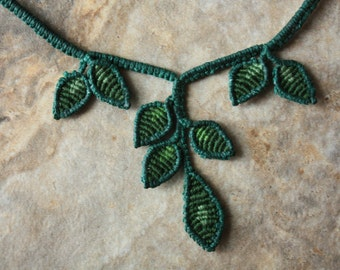 Green Earth Goddess macrame necklace