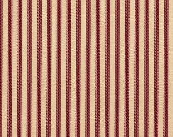 Tailored Valance, Crimson Red Ticking Stripe, Lined