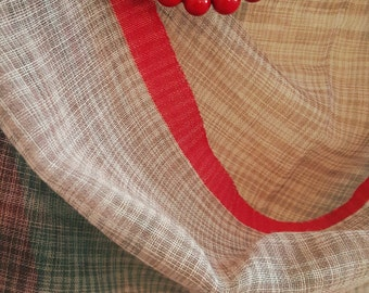 Handwoven Cotton Scarf Shawl Chic Grey Red