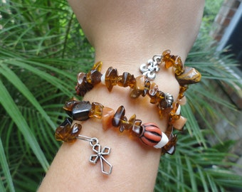 Brown-tone, Natural Stone Wire Wrap Bracelet * Business/Casual Gift Bridesmaid Girlfriend Mother/Daughter Gift Birthday Holiday