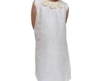 Handmade White Linen Dress with Flowers