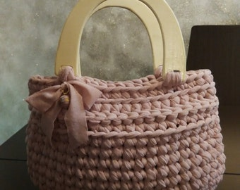crochet t shirt yarn bag, purse with wooden handles